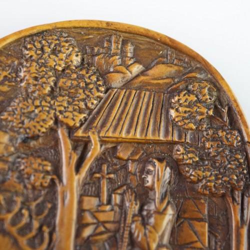 Boxwood relief of Saint Mildred. German, 16th century. -