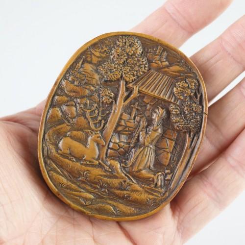Antiquités - Boxwood relief of Saint Mildred. German, 16th century.