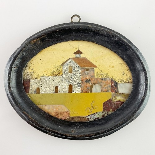Framed pietra dura house plaque. Italian, late 17th century - Decorative Objects Style
