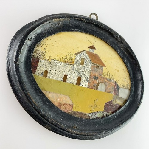 Framed pietra dura house plaque. Italian, late 17th century -