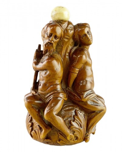 Boxwood Poseidon flask. French, late 17th century.