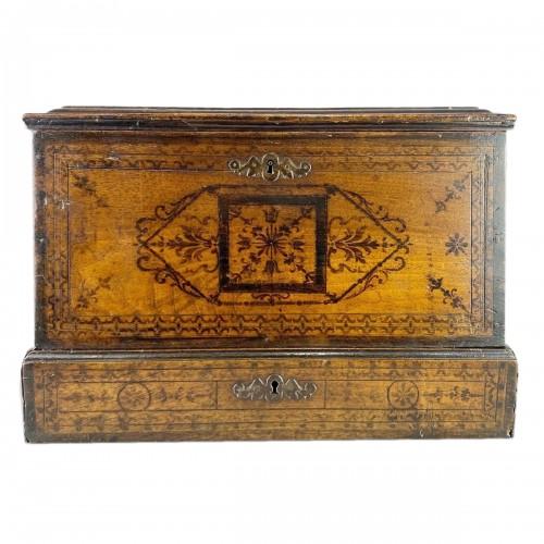 Penwork tea chest. French, mid 18th century.