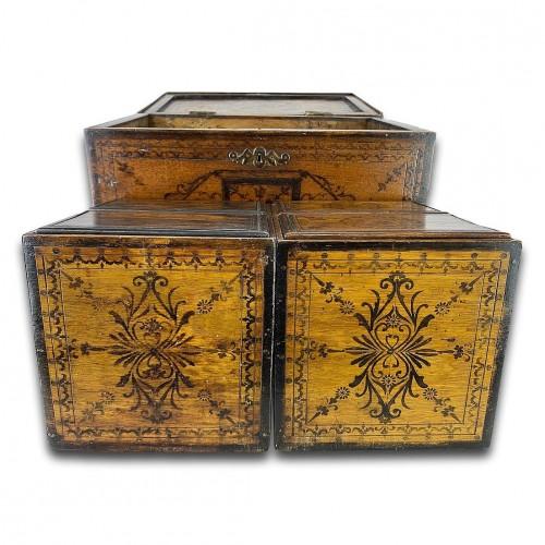 Furniture  - Penwork tea chest. French, mid 18th century.