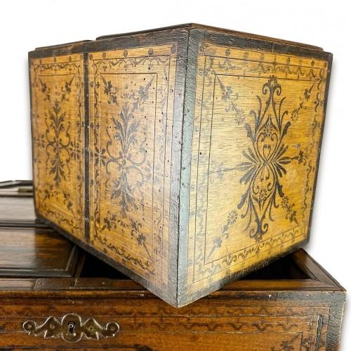 18th century - Penwork tea chest. French, mid 18th century.