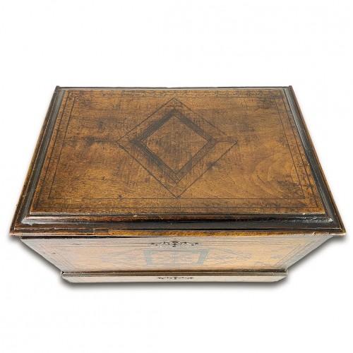 - Penwork tea chest. French, mid 18th century.