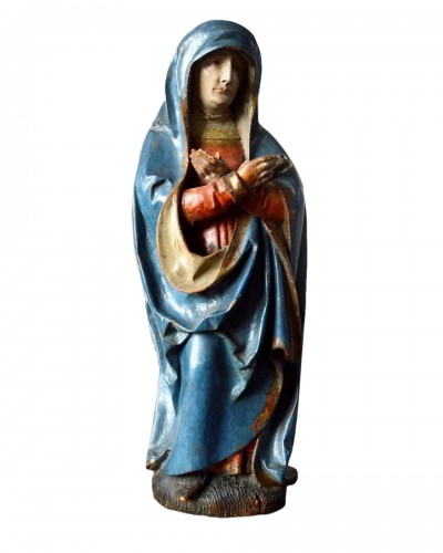 Limewood sculpture of the virgin. Southern Germany, early 16th century.