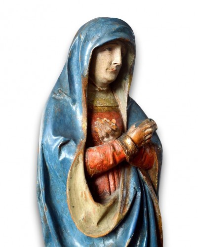 <= 16th century - Limewood sculpture of the virgin. Southern Germany, early 16th century.