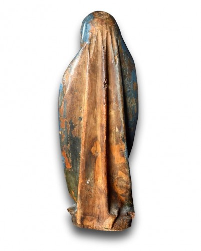 Antiquités - Limewood sculpture of the virgin. Southern Germany, early 16th century.