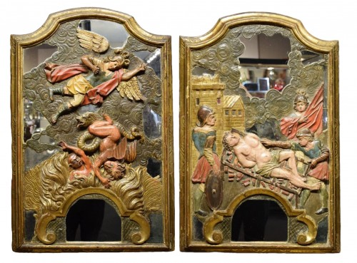 Pair of wooden reliefs of Saint Michael & Lawrence. Spain17th century