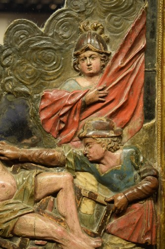 Pair of wooden reliefs of Saint Michael & Lawrence. Spain17th century -