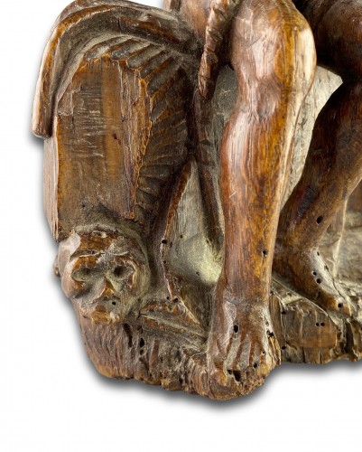 Sculpture  - Oak sculpture of Christ on the cold stone. French, early 16th century.