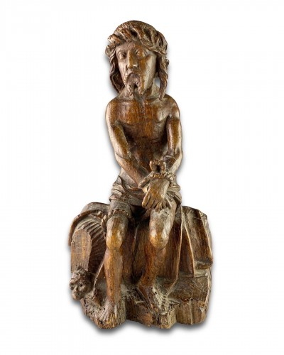 <= 16th century - Oak sculpture of Christ on the cold stone. French, early 16th century.