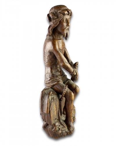 - Oak sculpture of Christ on the cold stone. French, early 16th century.