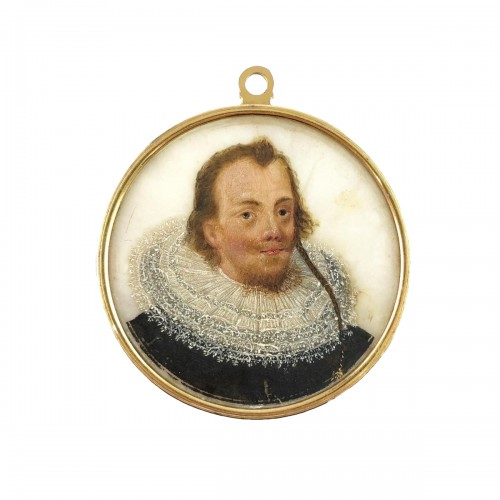 Double sided portrait miniature on alabaster. Northern Europe, 17th century