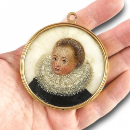 17th century - Double sided portrait miniature on alabaster. Northern Europe, 17th century