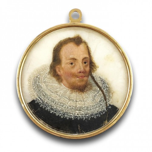 Antiquités - Double sided portrait miniature on alabaster. Northern Europe, 17th century
