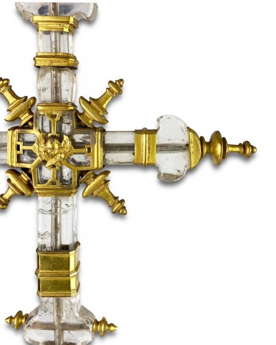 Important rock crystal processional cross, Spain 13th/14th century - Religious Antiques Style