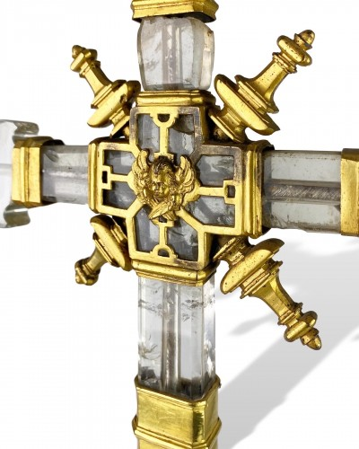 Important rock crystal processional cross, Spain 13th/14th century -