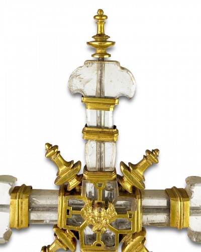 Antiquités - Important rock crystal processional cross, Spain 13th/14th century