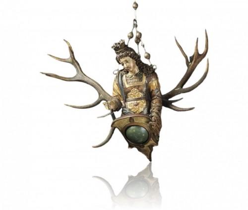 Wood & antler Lüsterweibchen of a Mermaid King. German, 17th century. -
