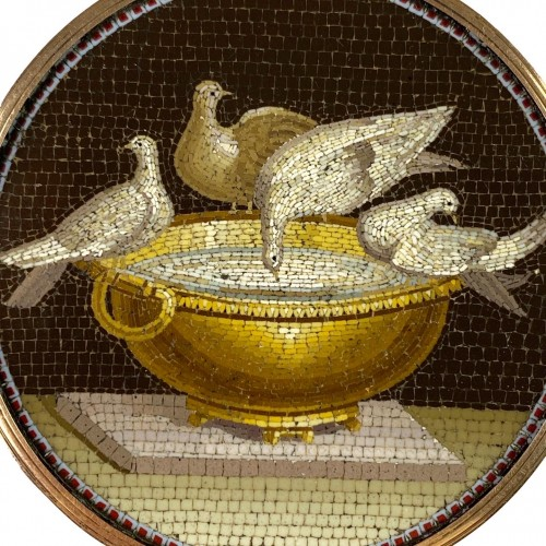 Objects of Vertu  - Micromosaic doves of Pliny by Giacomo Raffaelli, Italy 18th century