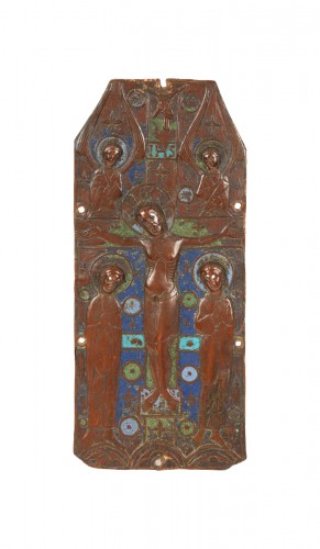 Champlevé enamelled copper book cover. Limoges, France, c.1200.
