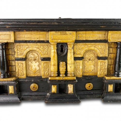 - Gilded alabaster and ebonised pear wood strongbox. Malines, 17th century.