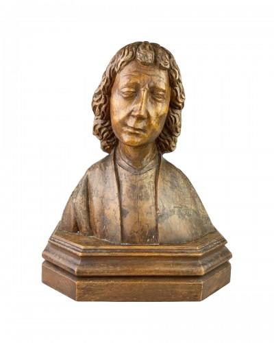 Oak bust of Saint John the Evangelist. French, 15th century.