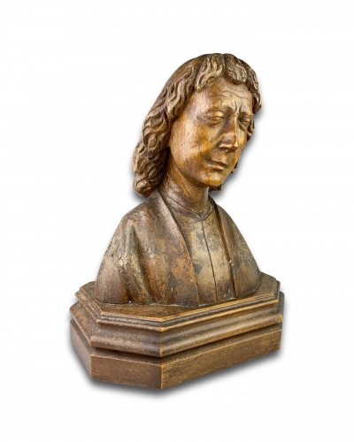 Oak bust of Saint John the Evangelist. French, 15th century. - Sculpture Style