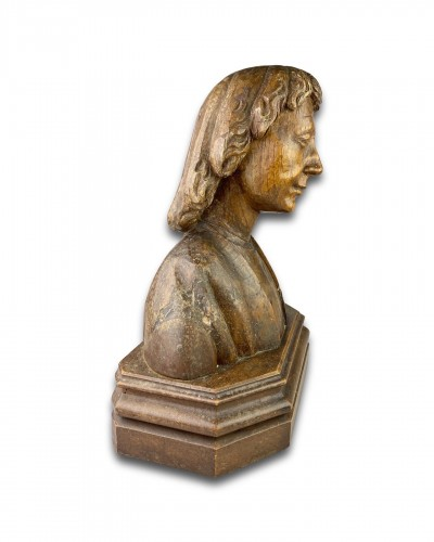 Oak bust of Saint John the Evangelist. French, 15th century. -