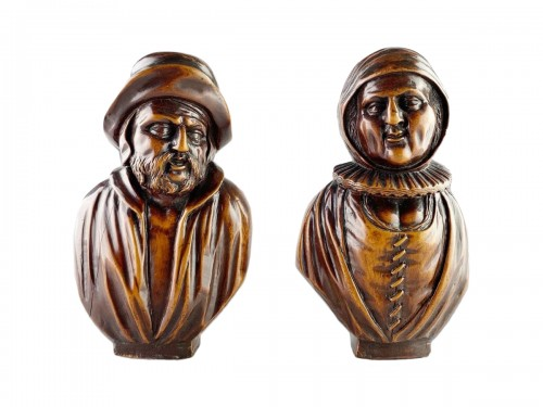 A pair of boxwood busts of a man & his wife. Flemish, mid 18th century.
