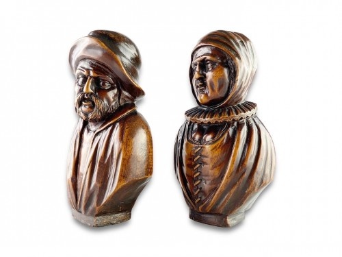 Curiosities  - A pair of boxwood busts of a man & his wife. Flemish, mid 18th century.