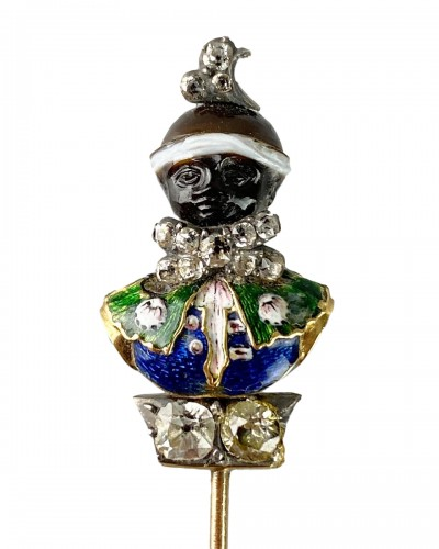Stick pin with an agate & enamel bust of a Moorish Prince. French, 18th cen