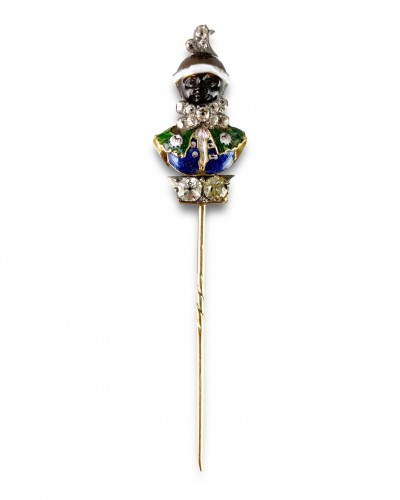 Stick pin with an agate & enamel bust of a Moorish Prince. French, 18th cen - Antique Jewellery Style