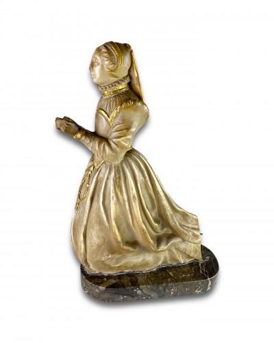 Sculpture  - Alabaster relief of a kneeling female mourner, France 16th century.