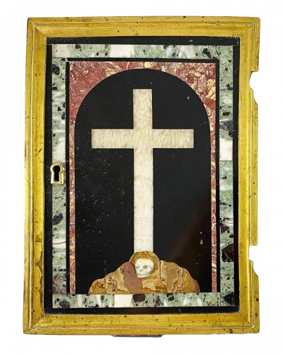 Marble inlaid tabernacle door with crucifix on Golgotha. Italian, 17th cent