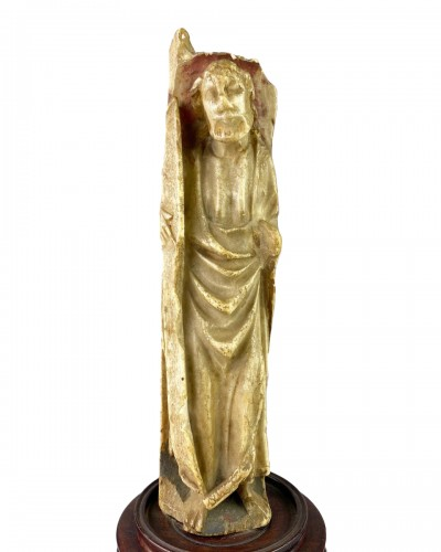 Nottingham alabaster of a male Saint. English early 15th century