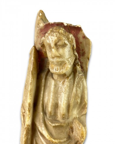 Nottingham alabaster of a male Saint. English early 15th century - Religious Antiques Style