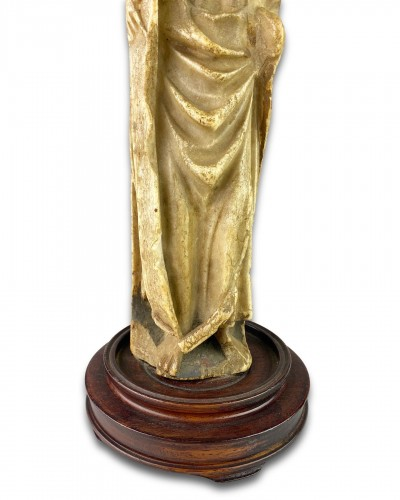 11th to 15th century - Nottingham alabaster of a male Saint. English early 15th century