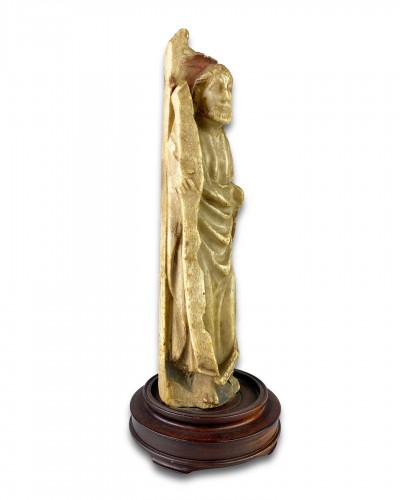 - Nottingham alabaster of a male Saint. English early 15th century