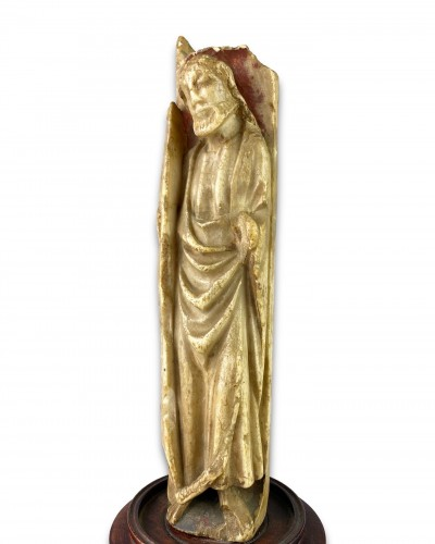 Antiquités - Nottingham alabaster of a male Saint. English early 15th century