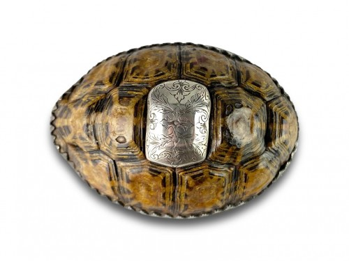 Silver mounted star tortoise snuff box, early 18th century -