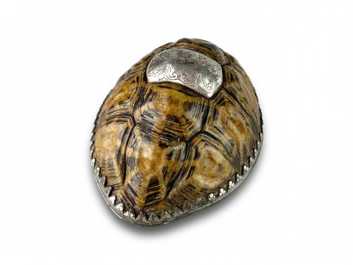 Antiquités - Silver mounted star tortoise snuff box, early 18th century