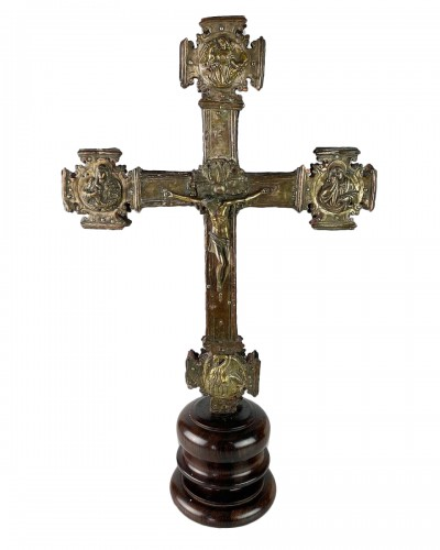 Renaissance gilt copper processional cross. Italian, 15th - 16th centuries.