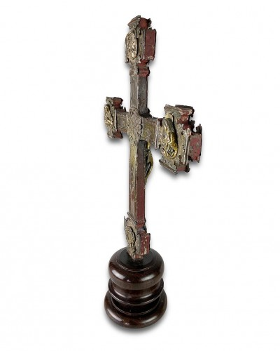 Renaissance gilt copper processional cross. Italian, 15th - 16th centuries. - Religious Antiques Style