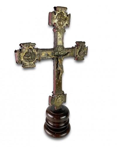 - Renaissance gilt copper processional cross. Italian, 15th - 16th centuries.