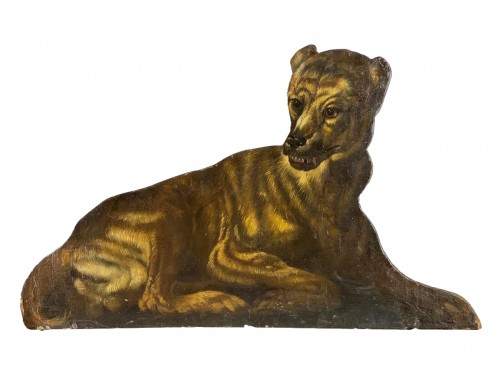 Dummy board in the form of a recumbent dog. Italian, late 17th century.
