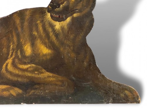 Dummy board in the form of a recumbent dog. Italian, late 17th century. -