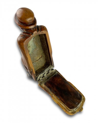 Fruitwood snuff box carved as a coachman relieving himself. Dutch, c.1780 -