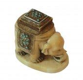 Netsuke - Elephant on ivory - turquoise - Cachet XIXth JAPAN